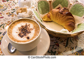 Pastry #46 - Coffee and Croissant in a French Patisserie -...