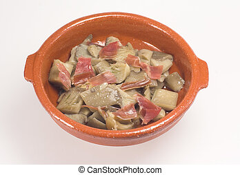 Mushrooms and ham snack