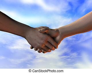 Shaking on it - Shaking hands - making the deal. A 3D...