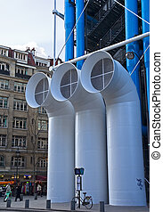 Georges Pompidou Center - HVAC pipes in front of Georges...