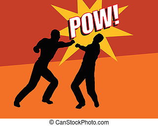 Pow - Two men fighting - one punching the other