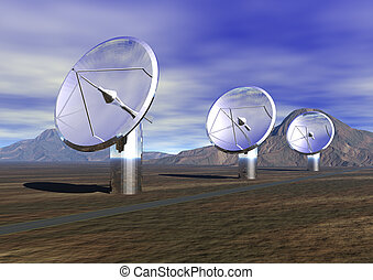 Satellite Dishes - 3 Satellite dishes listening to the sky -...