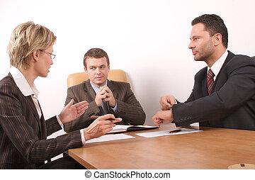 tres, gente, reunión