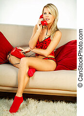 Girl with red phone - Sexy Blonde girl with red phone close...