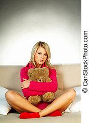 Girl with teddy bear - Sexy blonde girl with teddy bear...