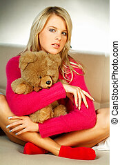 Girl with teddy bear - Sexy blonde girl with teddy bear...