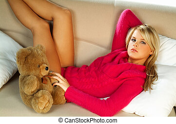 niña, teddy, oso