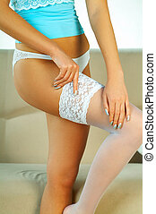 white stocking - Girl wearing white stocking close up