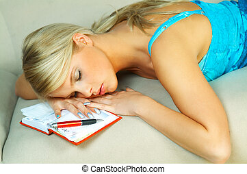 woman with datebook - Blonde woman with datebook