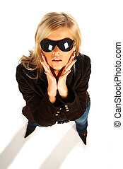 girl with sunglasess - Blonde girl with black sunglasses on...