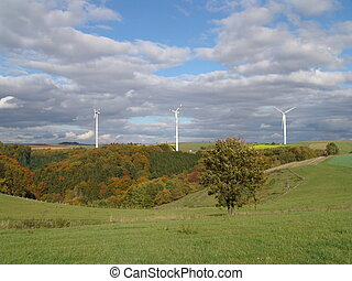 Windpower Stations - Three windpower stations in the high...