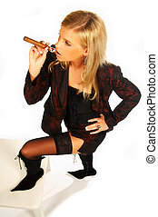 girl holding cigar - Blonde girl holding cigar.