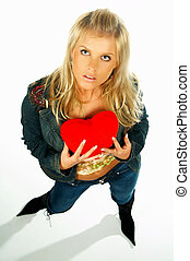 girl holding heart - Blonde sexy girl holding a red velvet...