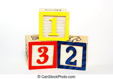 Toy Blocks - Numbers - Toy blocks with numbers on white