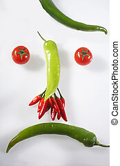 angry - sauer - different vegetables formed to a face -...