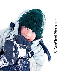 Child fun winter - Young boy playing in snow