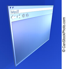 Browsing - Empty Browser window 3D rendered Illustration