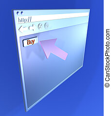 Browsing - Buy - Browser window. 3D rendered Illustration.