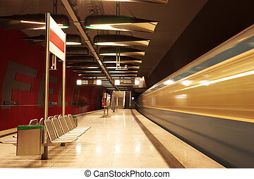 Munich #35 - Moving train in a underground train station