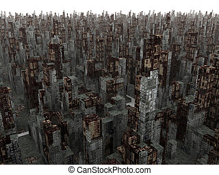 Dead City. Highly detailed 3D render. Calculation time: 48...