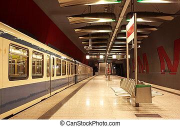 Munich #35 - Train in a underground train station