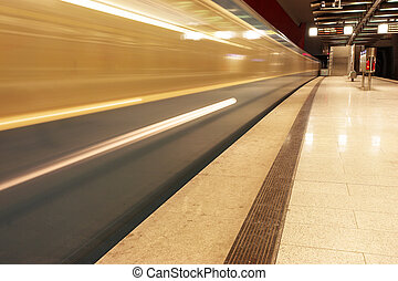 Munich #40 - Moving train in a underground train station