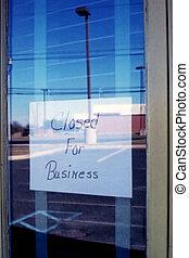 fechado, para, negócio