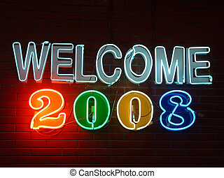 Welcome Neon Sign - welcome 2008 neon sign