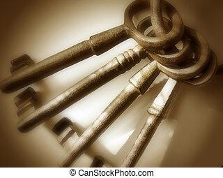 Antique Keys - Brown - Set of four oversized, cast iron...