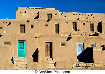 Pueblo village - Taos Pueblo houses, New Mexico, USA