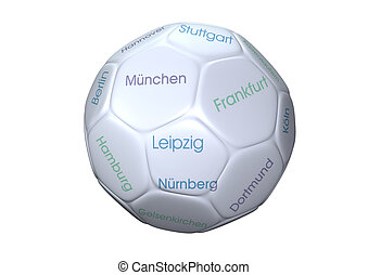 soccer ball isolated on white background. with the name of...