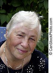 Grandmother in the garden