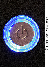 computer power button - blue glowing power button - computer...