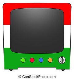 Television Hungary - Retro Television with Hungary flag...