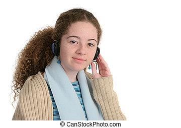 Adolescente, con, auriculares