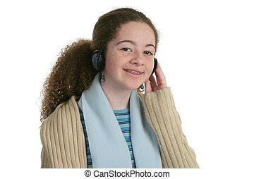 lindo, Adolescente, con, auriculares