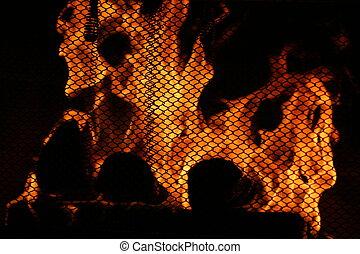Fire Behind Screen