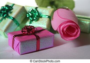 gifts and flower - pink flower and gift boxes