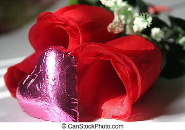 Valentines Heart - silk rose with a chocolate heart A...