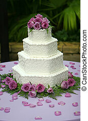 Tiered Wedding Cake with Purple Flowers - Beautiful...