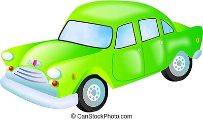 green car - stylised automobile