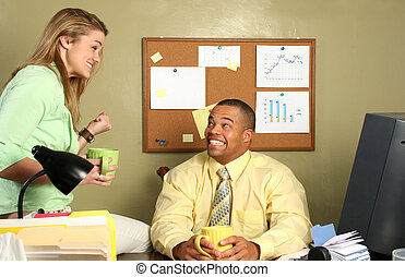 Happy Office Couple - Handsome African American business man...
