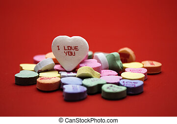 I love you message - Colorful hearts scattered around with...