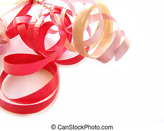 Curly ribbon on white background