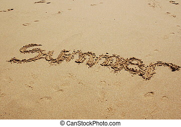 Summer Beach - The word Summer written in the beach sand...