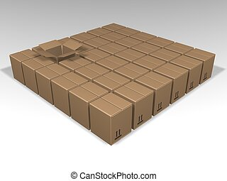 Individuality - 3d render of lots of boxes with just one...