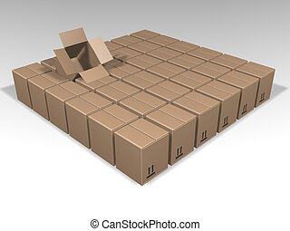 Individuality - 3D render of lots of brown boxes with just...