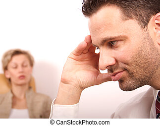 couple - Woman with eyes closed -blured, man covers face...