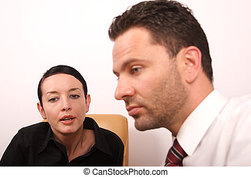 giving an advice - Business people converstion - close up,...