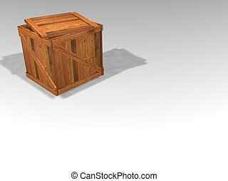 Wooden crate - 3D render of wooden crate